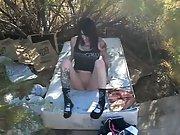 Biker chick masturbating in woods fuck outdoors